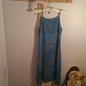 Limited Too Size 12 Long Blue Paisley Dress